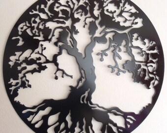 "Tree Of Life, 75 cm (29.5"") Wall decor, Metal Art - BLACK"