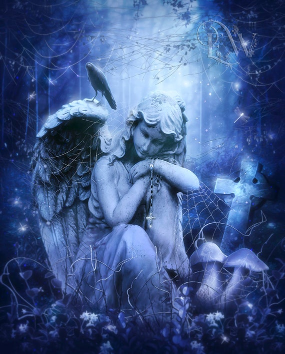 Gothic Angel statue in forest art print