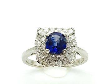 1.97CTTW Ceylon Blue Oval Sapphire And VS Diamond Ring