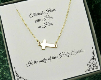 First Communion Gifts for Girls, Confirmation Gift Girl, Confirmation Gift, Christmas, Christian Gifts, Side Cross Necklace, Gold Filled