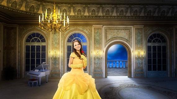 Beauty And The Beast Backdrop Belle Background Ballroom Digital Fairy Tale Princess Overlay
