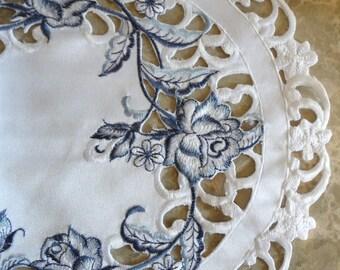 "27"" Dresser Scarf Dutch Delft  Embroidered  Rose Blue White Table Runner Doily"