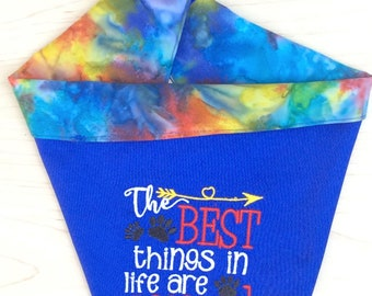 The Best Things in Life are Rescued -embroidered bandana-rescued dog gift-dog mom gift-new puppy gift-dog adoption gift-dog mom-