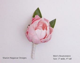 Boutonniere/buttonhole, pink, blush, silk, peony/peonies, bud, wedding/prom, Real Touch, flowers