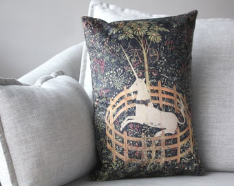 """the unicorn is is captivity and no longer dead - 14"""" x 20"""" velveteen pillow case - unicorn tapestries, 1495 - 1505"""