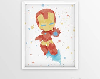 Iron Man Avengers Superhero ironman Watercolor ironman gifts Art Print Marvel Room Decor iron man print ironman poster Baby Nursery Wall Art