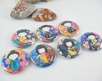 Cute Fridge Magnets / 7 Washi Girls No 1 Button Magnets - magnabilities 1220
