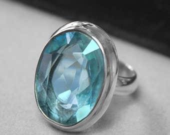 Mint Oval Blue Topaz Gemstone Sterling Silver Ring Size 7.5  r2