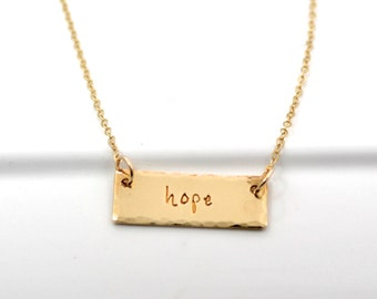 Hand Stamped Bar One Word Necklace in NuGold