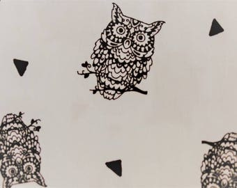 "Pattern ""The owls"" white cotton fabric"