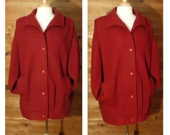 Women's vintage coat, wool coat, red coat, oversize coat, professional coat, wool jacket, vintage jacket, Plus Size coat, business coat