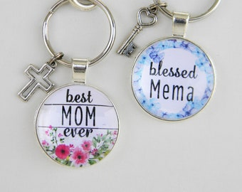 Mother's Day Personalized Key Chain Rings - Gifts for Mom, Grandma, Gigi - Glass Cabochon Silver Keyring/Key Chain