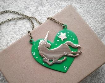 Lucky Space Unicorn Boho Chic Bib Necklace  - Vintage Brass Unicorn Cosmic Outer Space Art Kelly Green Heart Pendant - Bohemian Jewelry Gift