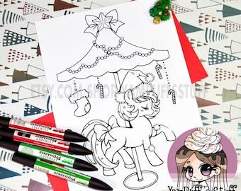 Christmas Carousel Pony  - Clip Art - Digital Stamp