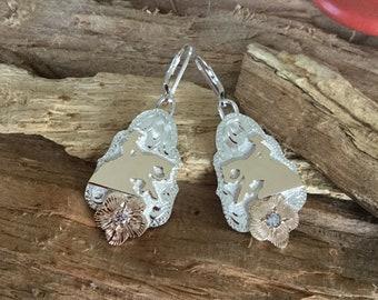 Reining horse earrings, Reiner Earrings, Sterling Silver, 12kt GoldFill, Artisan Handmade and engraved, Dangles