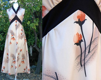 1960s 1970s Tan Black Floral Print Maxi Dress // 60s 70s Rose Print Long Dress with Empire Waist & Stand Up Collar