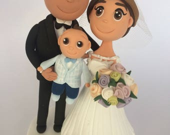 Wedding personalized cake topper, Cute cake topper, Custom figurines with dogs , polymer clay topper, personalized cake topper with baby