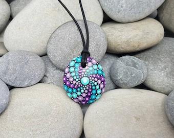 Turquoise Purple Mandala Necklace  - Painted Rock Jewelry - Hand-Painted Mandala Rock - Paint Rock - Mandala Pendant - Chakra - Meditation