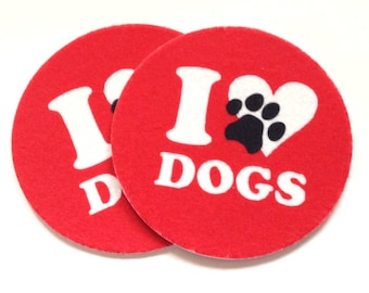 Absorbent Coaster Set - I Love Dogs -  Free Shipping - Two Red Coasters with heart and paw for dog lovers - Buy One = Give Clean Water