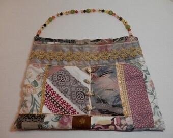 10x12  Earthtone Neutral Color Handbag Hand Beaded Handle Zipper Fabric Mosaic Design Embellished Purse Urban Chic Bohemian Style Bag Gift