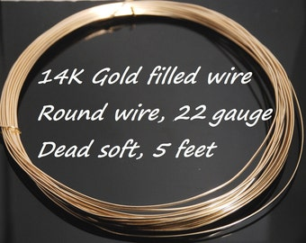 Made in USA 22 gauge 14K gold filled round wire, soft, 5 feet