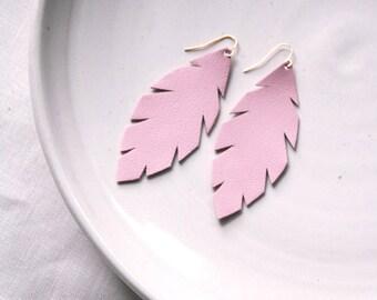 Blush Pink Leather Leaf Earrings