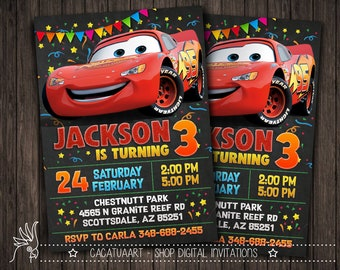 Personalized Invitation Cars Movie, Cars Movie, Lightning McQueen, Mater, Sally, Mack, Doc Hudson, Cars 3, Cars 2 Party, Cars Birthday, Cars
