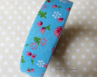 Roll 4 meters fabric flowers Liberty blue tape