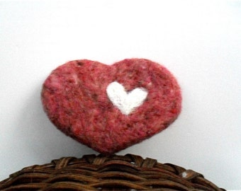 Catnip cat toy pink heart needle felted