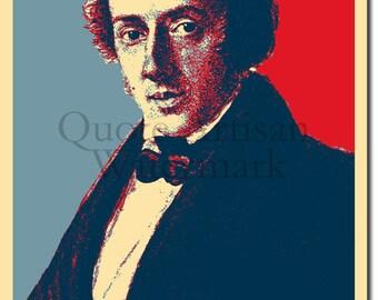 Frederic Chopin Original Art Print - 12x8 Inch Photo Poster Gift - Obama Hope Parody