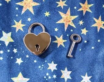 Small Heart Shaped Padlock with Key