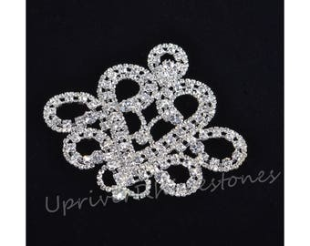Crystal Beaded Applique, Glass Rhinestone Applique, Wedding Sash Applique, Beaded Patch For DIY Wedding Sash Accessories, FRP05S