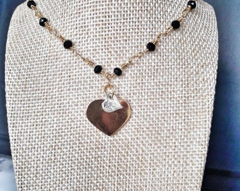 Necklace with double heart pendant, gold and silver, with Rosario chain, black quartz beads