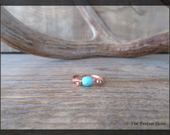 Ring, Turquoise, Copper, Size 9.5, Wire, Wrap