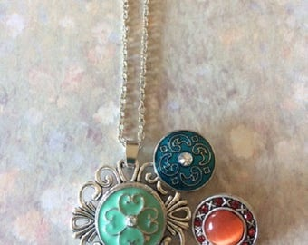 Bead Necklace - Bead Jewelry - Stone Necklace - Stone Jewelry - Multi Charm Necklace - Button Necklace - Snap Button Necklace - Silver Snap