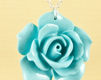 Vintage Large Turquoise Rose Necklace