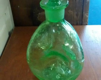 Vintage 1950s Green Glass Midcentury Pinch Decanter
