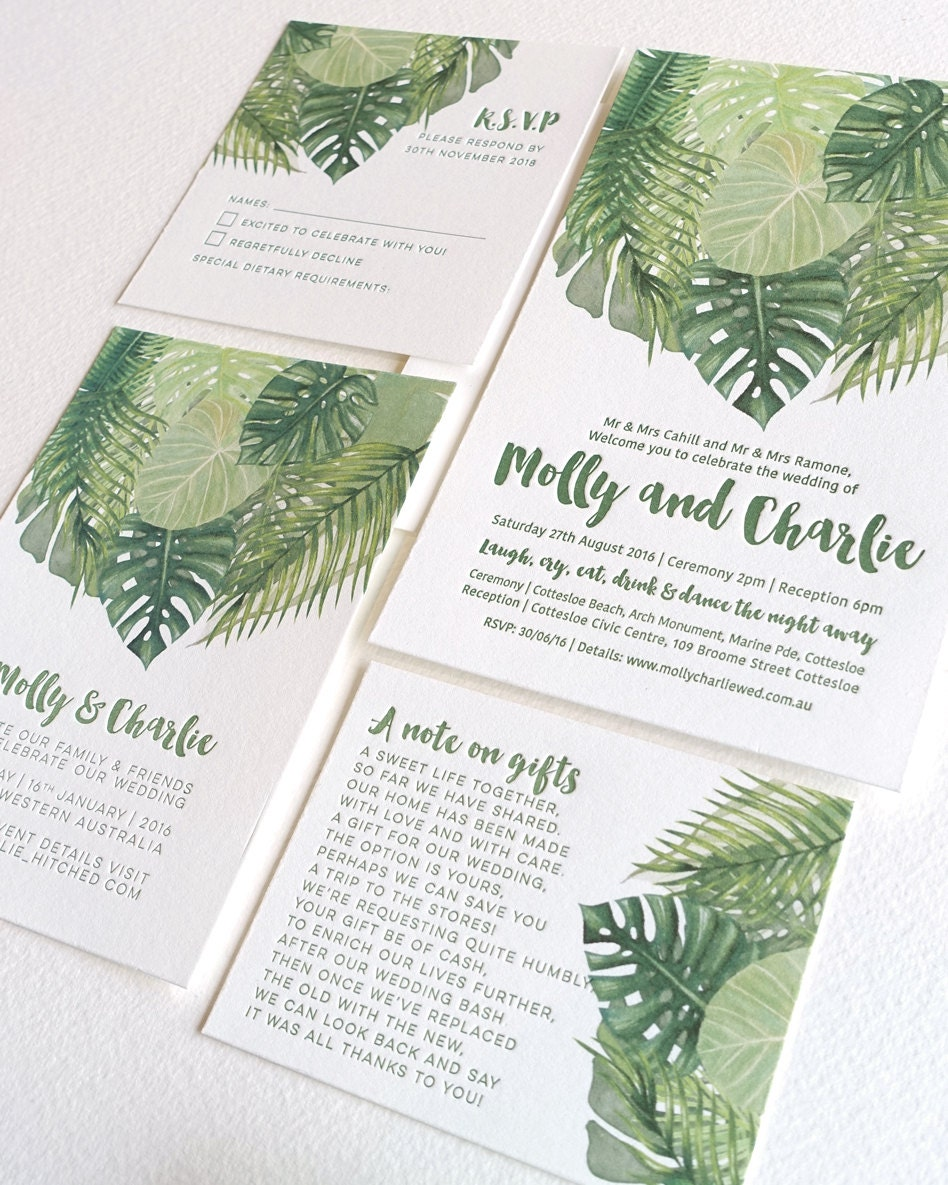 Tropical wedding invitation suite palm leaves Letterpress