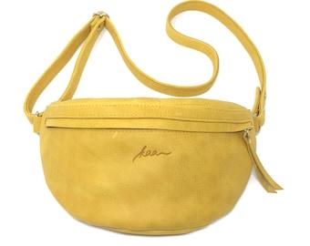 "Yellow leather hip pocket, Hipbag ""Saffron"""