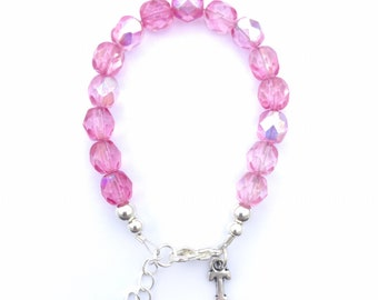 Pink toddler bracelet, stacking bracelet, infant bracelet, baby shower gift, unique baby gift, initial charm bracelet, custom bracelet