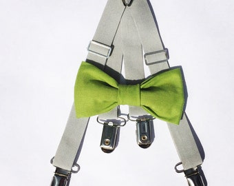 Green bow tie and Gray suspender set, Bow tie & suspender set, Baby bow tie and suspender set, Baby suspenders, kids suspenders, bow tie