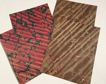 Antique Marbled Paper Pack, Four-Pack of Assorted 19th Century Paper, Red and Brown Crafting Paper