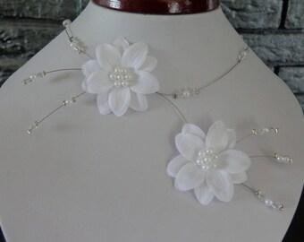 Necklace wedding flower gala white satin wedding ball of fine d year miss