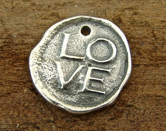 Love - Artisan Sterling Silver Wax Seal Charm or Petite Pendant - One Piece - Artisan Sterling Silver Charms - clws