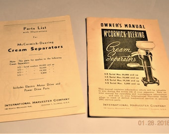 Set soft back books,1947 Owner's Manual McCormick – Deering Cream Separators and 1947 Part List for McCormick – Deering Cream Separators