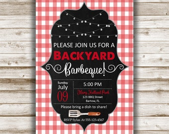 BBQ Invitation 5x7 - Personalized Invitation, BBQ Party, Backyard Barbecue Invite, Barbeque Party, Rustic Invitation, Summer Party, Gingham