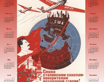 1937 Stalin Soviet propaganda Stalinism poster + Calendar 2018