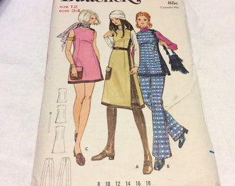 Vintage Butterick 1970's size 12 misses sewing pattern 5843