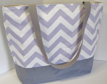 Chevron Tote Bag .  Lavender White and Gray . Standard size . Chevron beach bag . great bridesmaid gifts . Monogramming Available