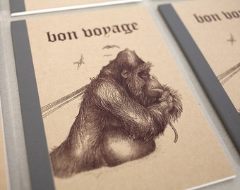 Bon voyage notebook - screen print A5 notebook monkey
